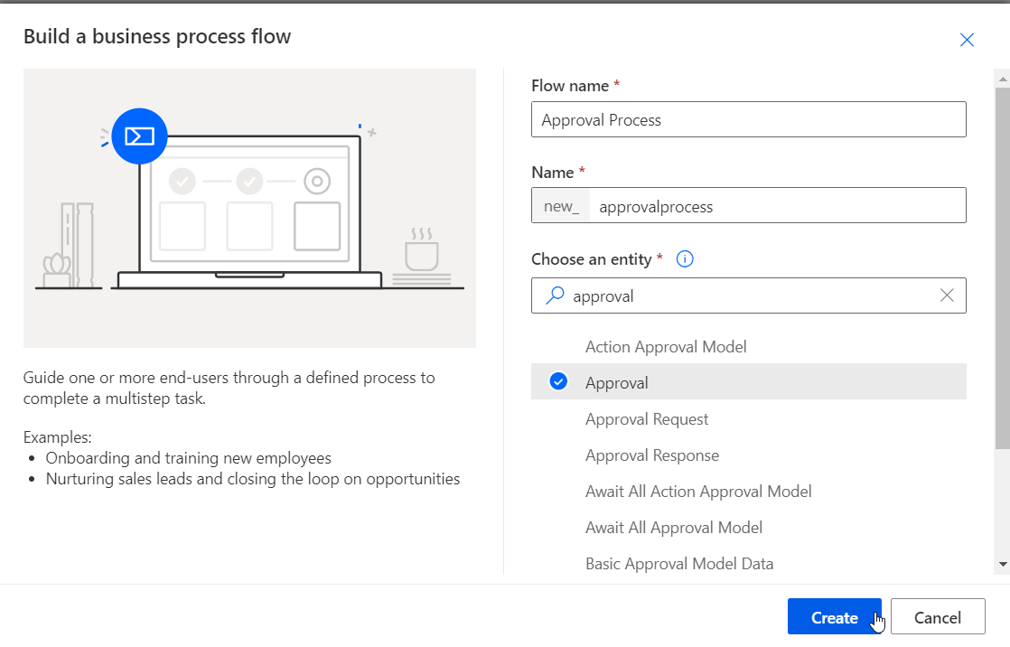 Create a new BPF for the Approval entity
